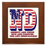 North Dakota ND Liberty And Union Now Framed Tile