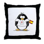 Spain Penguin Throw Pillow