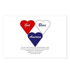 God Bless America Hearts Postcards (Package of 8)