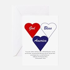 God Bless America Hearts Greeting Cards