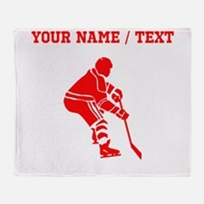 Red Hockey Player (Custom) Throw Blanket
