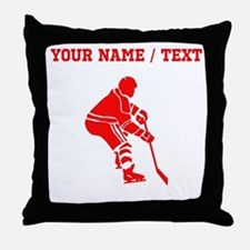Red Hockey Player (Custom) Throw Pillow
