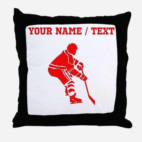 Red Hockey Player (Custom) Throw Pillow