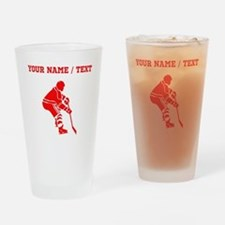 Red Hockey Player (Custom) Drinking Glass