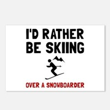 Skiing Over Snowboarder Postcards (Package of 8)