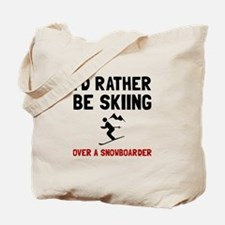 Skiing Over Snowboarder Tote Bag