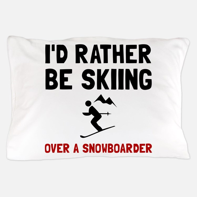 Skiing Over Snowboarder Pillow Case