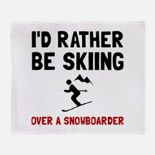 Skiing Over Snowboarder Throw Blanket