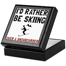Skiing Over Snowboarder Keepsake Box