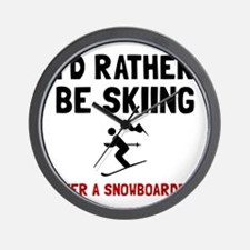 Skiing Over Snowboarder Wall Clock