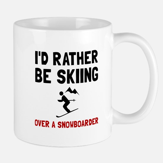 Skiing Over Snowboarder Mugs
