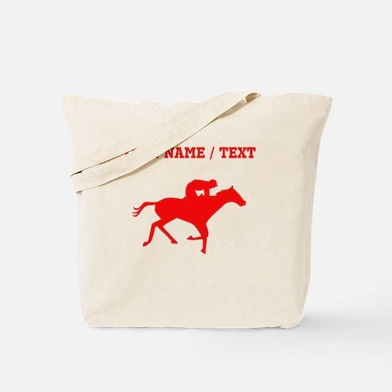 Red Horse Racing Silhouette (Custom) Tote Bag