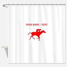 Red Horse Racing Silhouette (Custom) Shower Curtai