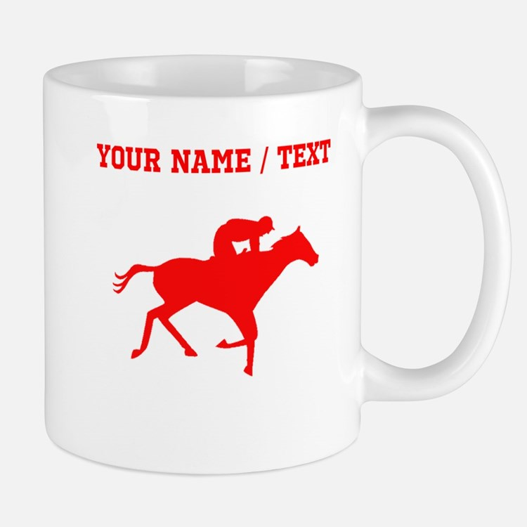 Red Horse Racing Silhouette (Custom) Mugs