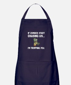 Zombies Chase Us Tripping Apron (dark)