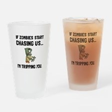Zombies Chase Us Tripping Drinking Glass