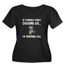 Zombies Chase Us Tripping Plus Size T-Shirt