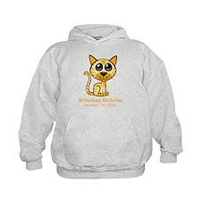 Yellow Kitty CUSTOM Baby Name and Birthdate Hoodie