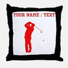 Red Golfer Silhouette (Custom) Throw Pillow
