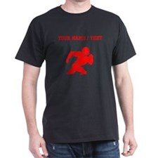 Red Football Player Silhouette (Custom) T-Shirt