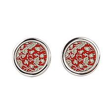 William Morris pattern, Wild Tulip Round Cufflinks
