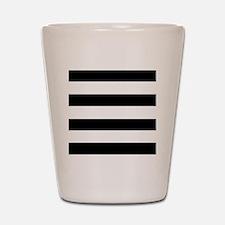 modern black white stripes Shot Glass