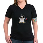 France Penguin Women's V-Neck Dark T-Shirt