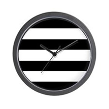 modern black white stripes Wall Clock