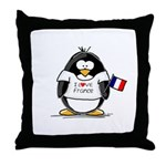 France Penguin Throw Pillow
