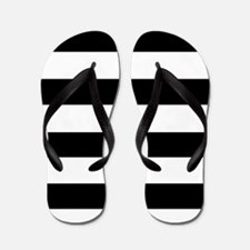 modern black white stripes Flip Flops