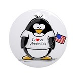 America Penguin Ornament (Round)