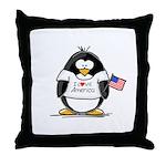 America Penguin Throw Pillow