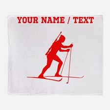 Red Biathlete Silhouette (Custom) Throw Blanket