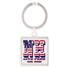 New Hampshire NH Live Free Or Di Square Keychain