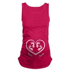 Girl Twin Footprints Heart CUSTOM Baby Name Matern
