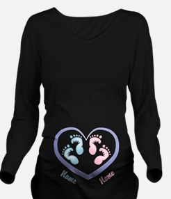 Boy/Girl Twin Footprints CUSTOMIZED Long Sleeve Ma