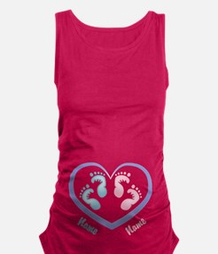Boy/Girl Twin Footprints CUSTOMIZED Maternity Tank