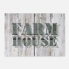 barn wood farmhouse 5'x7'Area Rug