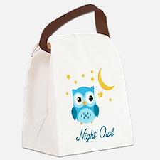 Night Owl (Blue) Canvas Lunch Bag