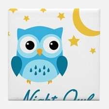 Night Owl (Blue) Tile Coaster