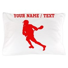 Red Lacrosse Player (Custom) Pillow Case