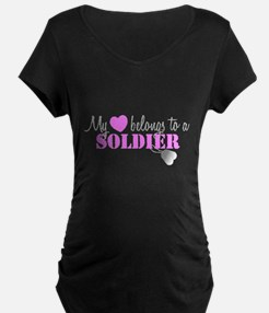 My 3 belongs to a Soldier Maternity T-Shirt