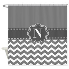 Gray White Chevron Personalized Shower Curtain