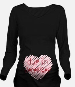 Due in December Heart Long Sleeve Maternity T-Shir