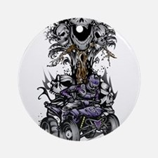 Skull-Tree Quad Style Purple Ornament (Round)