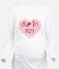Due in May Heart Long Sleeve Maternity T-Shirt