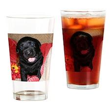 Black Lab Puppy Drinking Glass