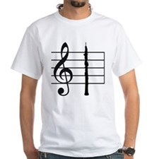 Oboe on a Treble Clef Staff White T-shirt
