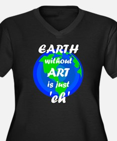 EARTH withou Women's Plus Size V-Neck Dark T-Shirt