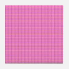 Pink Plaid Tile Coaster